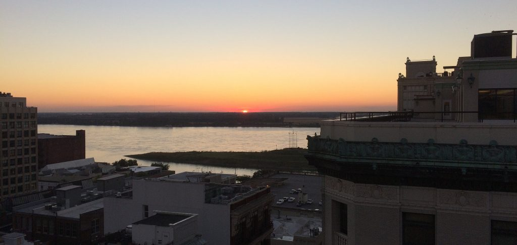 Sunset over the Mississippi from The Roof