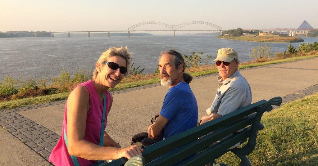 Linda, Doug, Mark on the Mississippi